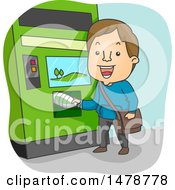 Clipart Of A Man Using A Recycling Machine Royalty Free Vector Illustration