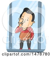 Clipart Of A Man Smoking A Cigarette In A Cubicle Royalty Free Vector Illustration by BNP Design Studio