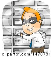 Clipart Of A Masked Business Man Stealing A Safety Deposit Box Royalty Free Vector Illustration