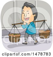 Clipart Of A Happy Asian Peddler Royalty Free Vector Illustration