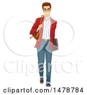 Clipart Of A Preppy Man Walking Royalty Free Vector Illustration