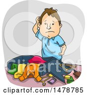Clipart Of A Disorganized Man Packing Luggage Royalty Free Vector Illustration