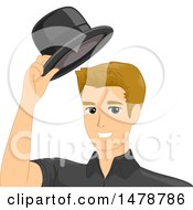 Clipart Of A Man Taking Off His Hat Royalty Free Vector Illustration