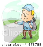 Clipart Of A Man Hitch Hiking Royalty Free Vector Illustration