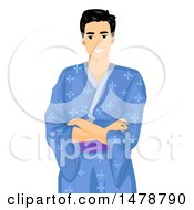 Clipart Of A Happy Man In A Blue Kimono Royalty Free Vector Illustration