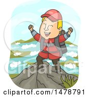 Clipart Of A Male Hiker Cheering At The Top Of A Mountain Royalty Free Vector Illustration