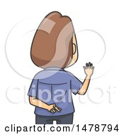 Clipart Of A Man Crossing His Fingers While Swearing To Tell The Truth Royalty Free Vector Illustration