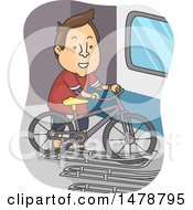 Clipart Of A Man Securing A Bike In A Rack Royalty Free Vector Illustration
