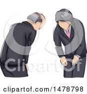 Clipart Of Bowing Japanese Business Men Royalty Free Vector Illustration