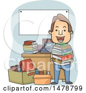 Clipart Of A Happy Man Holding A Stack At A Book Sale Royalty Free Vector Illustration