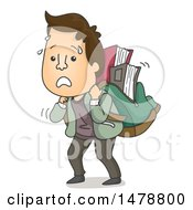 Clipart Of A College Student Carrying A Heavy Backpack Full Of Books Royalty Free Vector Illustration