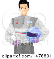 Clipart Of A Male Racer Holding His Helmet Royalty Free Vector Illustration by BNP Design Studio