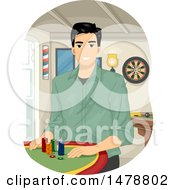 Clipart Of A Man Sitting At A Poker Table Royalty Free Vector Illustration
