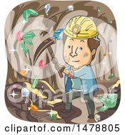 Clipart Of A Dirty Miner In A Cave Of Colorful Crystals Royalty Free Vector Illustration by BNP Design Studio