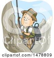 Male Explorer Climbing A Mountain
