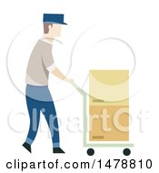Clipart Of A Warehouse Worker Pushing A Cart Of Boxes Royalty Free Vector Illustration