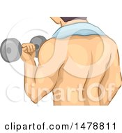 Clipart Of A Rear View Of A Man Working Out With A Dumbbell Royalty Free Vector Illustration