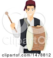 Clipart Of A Muslim Man Playing A Drum For Ramadan Breakfast Royalty Free Vector Illustration by BNP Design Studio
