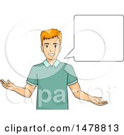 Clipart Of A Man Talking Next To A Speech Bubble Royalty Free Vector Illustration