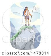 Clipart Of A Sketched Mountain Climber At The Top Royalty Free Vector Illustration