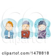 Clipart Of A Man Shown Cold Very Cold And Freezing In The Winter Royalty Free Vector Illustration