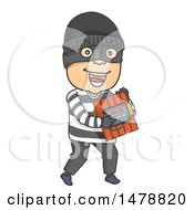 Clipart Of A Bomber Carrying Dynamite Royalty Free Vector Illustration