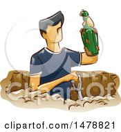 Clipart Of A Man Digging For Artifacts Holding Up A Bottle Royalty Free Vector Illustration