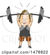 Clipart Of A Man Lifting A Heavy Barbell Over His Head Royalty Free Vector Illustration