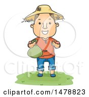 Clipart Of A Male Farmer Holding A Money Bag Royalty Free Vector Illustration