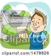 Clipart Of A Man Standing Near A House With Solar Panels Royalty Free Vector Illustration by BNP Design Studio