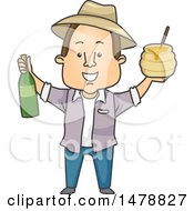 Clipart Of A Happy Farmer Holding Wine And Honey Royalty Free Vector Illustration by BNP Design Studio