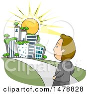 Clipart Of A Corporate Man Walking To A Green City Royalty Free Vector Illustration
