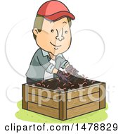 Clipart Of A Happy Male Gardener Putting Earthworms In A Vermicompost Bin Royalty Free Vector Illustration