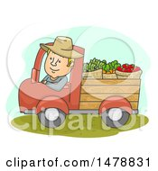 Clipart Of A Happy Farmer Driving A Truck With Produce Royalty Free Vector Illustration by BNP Design Studio
