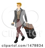 Clipart Of A Sharply Dressed Male Traveler With A Passport And Luggage Royalty Free Vector Illustration