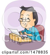 Clipart Of A Man Using A Typewriter Royalty Free Vector Illustration by BNP Design Studio
