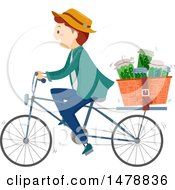 Clipart Of A Happy Man Riding A Bicycle With Herbal Medicines In A Basket Royalty Free Vector Illustration
