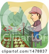 Clipart Of A Man Building A Fence Around A Garden Royalty Free Vector Illustration