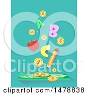 Clipart Of A Pencil Apple Letters And Coins Over Cash Money Royalty Free Vector Illustration
