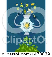Clipart Of A Machine Recycling Garbage And Turning It Into Money Royalty Free Vector Illustration by BNP Design Studio