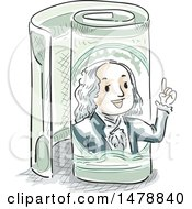 Clipart Of A Sketched Benjamin Franklin Emerging From A Rolled One Hundred Dollar Bill Royalty Free Vector Illustration