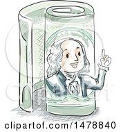 Sketched Benjamin Franklin Emerging From A Rolled One Hundred Dollar Bill