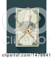 Clipart Of A Locked Chain Around Cash Money Royalty Free Vector Illustration