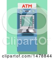 Clipart Of An ATM Machine Over Green Royalty Free Vector Illustration