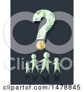 Clipart Of A Paper People Family Under A Dollar Coin And Question Mark Royalty Free Vector Illustration