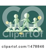 Clipart Of A Paper People Family With Coins Royalty Free Vector Illustration