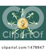 Clipart Of A Dollar Bill Paper People Around A Dollar Coin Royalty Free Vector Illustration by BNP Design Studio
