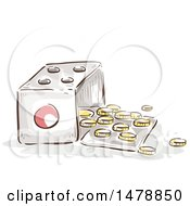 Clipart Of A Sketched Open Dice With Coins Royalty Free Vector Illustration