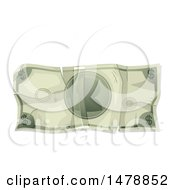 Crumpled Cash Money Dollar Bill