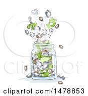 Clipart Of A Sketched Jar Bursting With Coins And Cash Money Royalty Free Vector Illustration